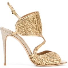 Salvatore Ferragamo woven sandals (1 225 AUD) ❤ liked on Polyvore featuring shoes, sandals, gold, ankle strap stilettos, nude sandals, braided sandals, ankle wrap sandals and braided leather sandals