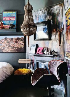 inspire: painted wall panel to hang art from in rental. get large sheets of mdf and paint them, then rest against wall or hang from picture rail and display art or mirror or sconce on it.