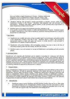 Free Printable Distributor Agreement, Nonexclusive   Sample Printable Legal Forms