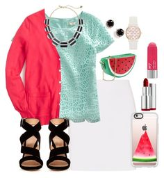 """Inspired by a watermelon "" by lbkatie17 ❤ liked on Polyvore featuring Helmut Lang, J.Crew, Gianvito Rossi, Casetify, Kate Spade, Clarins and Jessica Carlyle"