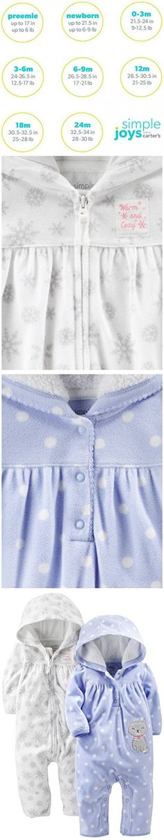 Simple Joys by Carter's Girls Baby 2-Pack Fleece Hooded Jumpsuits, White Snowflakes/Periwinkle Polka Kitty, 3-6 Months