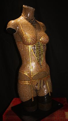 'Golden Basque' Hand-crafted from thousands of glass tiles over fibreglass body casting. Mounted on timber base.