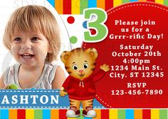 Cute Daniel Tiger's Neighborhood Digital Birthday Party Invitation, DIY Print. $9.99, via Etsy.