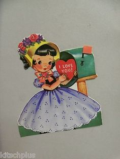 Vintage Valentine with a girl at a mailbox.
