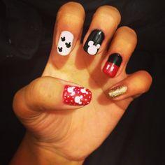 Micky mouse Disney nail art.