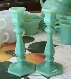 Pair Jadeite Green Milk Glass Candlesticks Candleholders ~ Jadite #LESmith