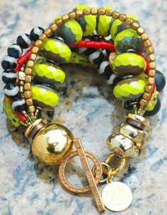 Madison Avenue Bracelet: Chunky Chartreuse Glass, Black Agate, Red Coral, Onyx & Gold Bracelet
