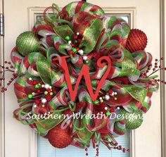 Red Silver and Green Deco Mesh Christmas by SouthernWreathDesign