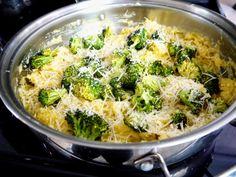 Parmesan and Creamy Cauliflower Spaghetti Squash Skillet with Roasted Broccoli