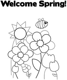 Welcome Spring Coloring Page Make your world more colorful with free printable coloring pages from italks. Our free coloring pages for adults and kids. Garden Coloring Pages, Jesus Coloring Pages, Summer Coloring Pages, Preschool Coloring Pages, Easter Coloring Pages, Printable Adult Coloring Pages, Flower Coloring Pages, Coloring Pages To Print, Coloring For Kids
