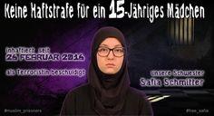 """Safia S in den Medien auch bekannt als """"Isis-Mädchen"""" nach der HAZ und BILD. Dieses Foto zeigt eine Kampagne von Islamisten als mutmaßliche Unterstützer gegen die Haftstrafe von Safia Schmitter"""