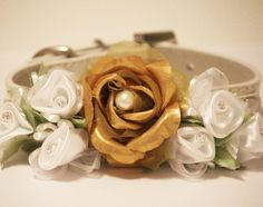 Gold White Floral Dog Collar. Gold & White Flowers with Rhinestones and Pearl,Pet Wedding Accessory, Dog Lovers