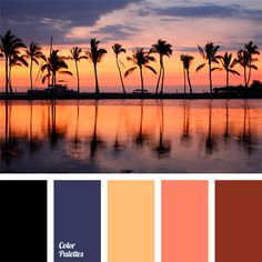 Color inspiration for design, wedding or outfit. More color pallets on… Sunset Color Palette, Sunset Colors, Colour Pallette, Colour Schemes, Color Combinations, World Of Color, Color Of Life, Color Cielo, Wedding Color Pallet