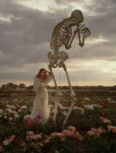 Tim Walker, Malgosia Bela & Crying Skeleton. Essex, UK, 2009  Harper's Bazaar  http://timwalkerphotography.com