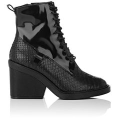 Robert Clergerie Women's Bono Leather Ankle Boots ($775) ❤ liked on Polyvore featuring shoes, boots, ankle booties, ankle boots, black, lace up booties, black booties, black leather bootie and lace up platform booties