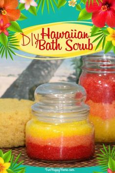 Bring the tropics to your bathroom with this DIY Hawaiian Bath Scrub! It's easy to make and is such a delightful treat! It makes a great gift too! Body Scrub Recipe, Sugar Scrub Recipe, Diy Body Scrub, Diy Scrub, Scrub Shop, Zucker Schrubben Diy, Bath Scrub, Sugar Scrub Homemade, Homemade Deodorant