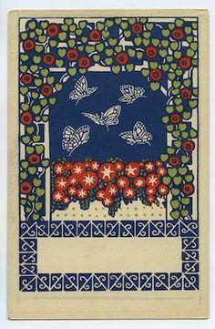 Gustav Kalhammer. Wiener Werkstätte Postcard no. 45: Butterflies. 1907.