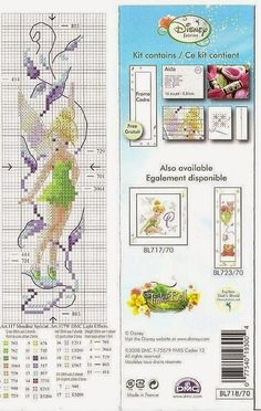 Tinkerbell bookmark 2 of 2 Cross Stitch Fairy, Cross Stitch For Kids, Cross Stitch Books, Cross Stitch Bookmarks, Beaded Cross Stitch, Cross Stitch Charts, Cross Stitch Designs, Cross Stitch Embroidery, Embroidery Patterns