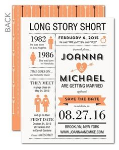 Let playful infographics tell your love story. (Your guests won't forget this fun way to save the da