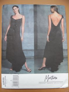 VPO 2835 Montana Dress 2004 Sz8-10-12 B31-34 H33-36 Close-fitting dress has flared skirt, cowl neckline in front and very low cowl in back, one capsleeve,one shoulder strap,above ankle length with asymmetrical hemline. uncut complete good Wear env Tip:The ultimate red carpet dress.Make it in a very light tricot.sld 13+5 3bds 5/17/15