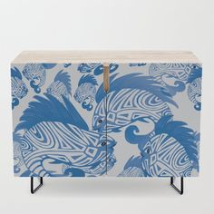 Play around in the Sea - Summer Fun - Blue and White - Credenza by pivivikstrm Office Cabinets, Bar Carts, Walnut Finish, Tv Stands, White Decor, Credenza, Floor Pillows, Framed Art Prints, Wall Tapestry