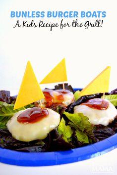 Fun Bunless Burger Boats - A Kids Recipe for Summer Grilling - at B-Inspired Mama