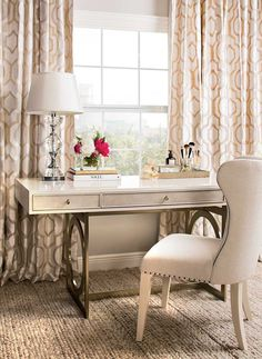 Lady in Writing: Who wouldn't be inspired at this sweet writing station? Salon Desk, $1,299. Benjamin Moore Light Pewter