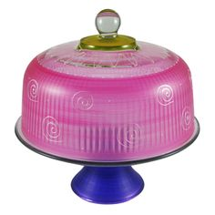 WC145008 Frosted Curl/Dot Pink Cake Dome