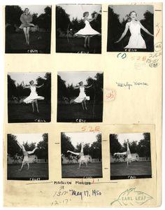 Marilyn Monroe's test sheet photographed by Earl Leaf, 1950.