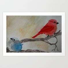 red blue bird watercolor painting by little moon dance