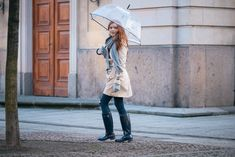 A classic feminine outfit featuring the fashion essentials for a rainy day such as a trench coat, Hunter boots and a transparent bell umbrella.
