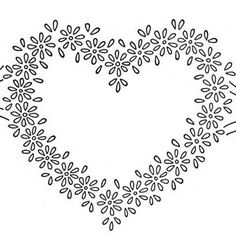 Free Hand Embroidery Flowers Patterns | Daisy Heart Border Embroidery Transfer Pattern