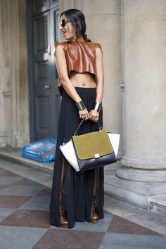 Love this look  topshop:    This tanned leather top looks oh-so-chic worn with a long slit skirt.