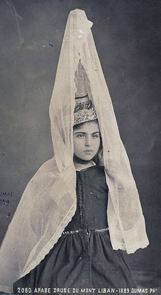 "Lebanon | Young Druze woman. ""Arabe druse du Mont Liban"" ca. 1889 | ©Dumas, Tancrède R., photographer"