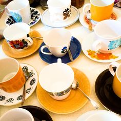 Retro 1960s afternoon tea. Teacups available to hire from Peace, Love & Daisy Chains.