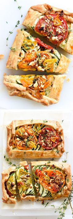 I stack fresh veggies on store-bought pie crust. This is a super easy appetizer or dinner that everyone loves | foodiecrush.com