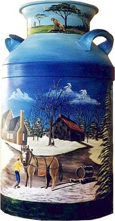 folk art pattern on milk cans Feather Painting, Painting On Wood, Milk Can Decor, Painted Milk Cans, Vintage Milk Can, Old Milk Cans, Plasma Cutter Art, Tole Painting Patterns, Painting Workshop