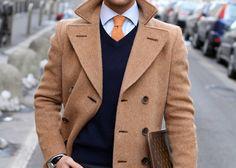 Men's Camel Overcoat, Navy V-neck Sweater, White Dress Shirt, Orange Tie Looks Style, Looks Cool, Men Looks, Gentleman Mode, Gentleman Style, Dapper Gentleman, Southern Gentleman, Mode Masculine, Sharp Dressed Man