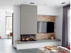 This space is asymmetrical. Neither tv nor fireplace is in the center. - Kamin Idee - This space is asymmetrical. Neither tv nor fireplace is in the center. This space is asymmetrical. Neither tv nor fireplace is in the center. Living Room Decor Fireplace, Fireplace Tv Wall, Living Room Tv, Fireplace Design, Home And Living, Fireplace Ideas, Off Center Fireplace, Modern Fireplaces, Fireplace Outdoor