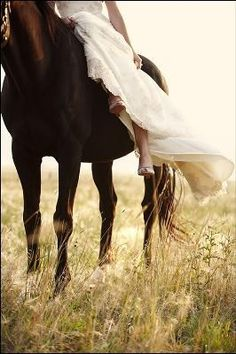 Horseback bride wedding animals outdoors country bride horse --> this is a better alternative to actually trashing your dress