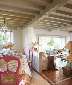 Rustic Stone House In The Spanish Countryside - DigsDigs Style Cottage, Cottage Living, Cozy Cottage, Fairytale Home Decor, Wooden Beams Ceiling, Rustic Stone, Modern Garden Design, Cottage Interiors, French Country Decorating