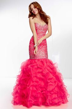 2014 New Arrival Prom Dress Beaded Bodice Trumpet Ruffled Skirt