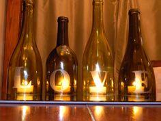 wine bottle centerpieces   LOVE Wine Bottle Centerpiece or Mantle Accent by CabernetLights