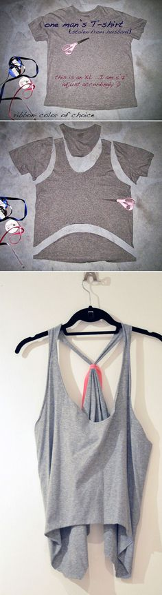 Tie-Back Tank Top - Diy clothes refashion for women diy kleidung 40 Simple No Sew DIY Clothing Hacks, Designs And Ideas Diy Clothes Tops, Diy Clothes Refashion, Clothes For Women, Old T Shirts, Cut Shirts, Dyi Couture, Tops Bonitos, Sewing Blouses, Diy Kleidung