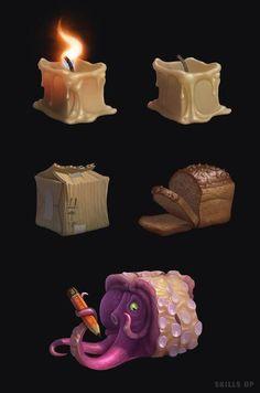 cube material by Denis Rastegaev on ArtStation. Texture Drawing, Texture Art, Texture Painting, Digital Painting Tutorials, Digital Art Tutorial, Art Tutorials, Prop Design, Game Design, 3d Design