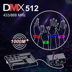 GFLAI Wireless DMX512 Remote Control LED Wristbands