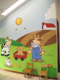 Murales en Colegios Kids Church Rooms, Kids Room, Kids Backyard Playground, Room Wall Painting, School Murals, Murals For Kids, Wall Drawing, Farm Theme, School Decorations