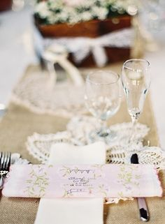Cute vintage place setting with personalized hankie. Photo by Megan Pomeroy Photography. www.wedsociety.com #wedding #inspiration #placesetting #vintage