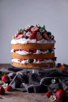 Full Cravings — Lemon Layer Cake with Fresh Strawberries