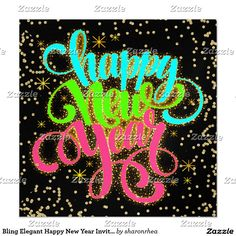 bling elegant happy new year invitation